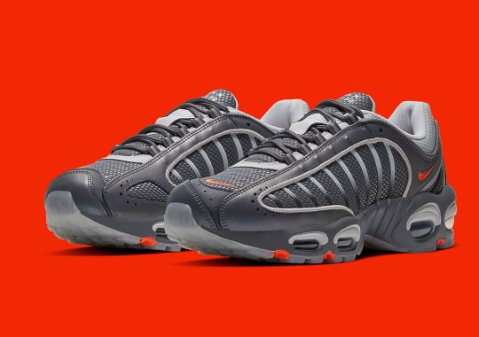 The Nike Air Max Tailwind 4 Appears In A Sporty Grey And Orange Mix