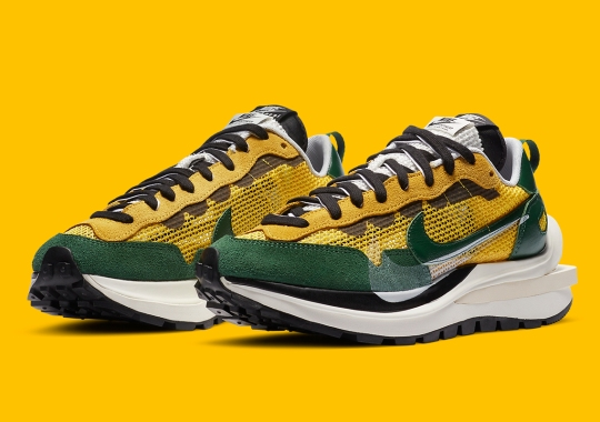 Official Images Of The sacai x Nike VaporWaffle In Green And Yellow