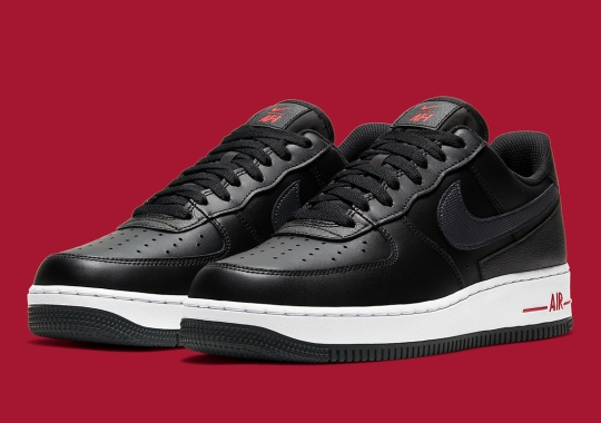 The Nike Air Force 1 Technical Stitch Surfaces In A Black, Red, And White Colorway