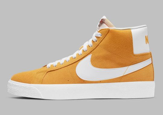 "The Nike SB Blazer Mid Surfaces In ""University Gold"" Suede"