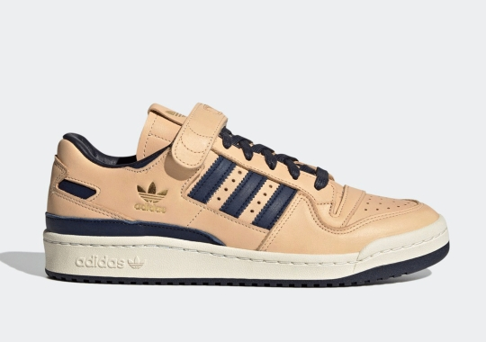 The adidas Forum '84 Lo Releases In Tan And Navy Leather