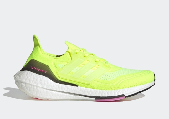 "The adidas UltraBOOST 21 ""Solar Yellow"" Adds ""Screaming Pink"" Accents"