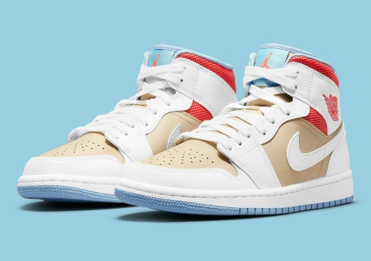 """Perforated Leathers Cover This Air Jordan 1 Mid """"Sesame"""""""