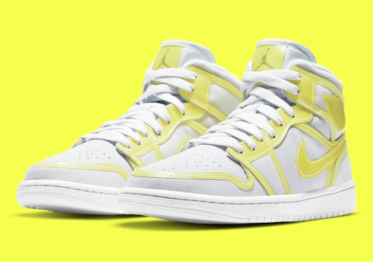 Air Jordan 1 Mid Pairs Off-White Suede And Opti Yellow Cut-Out Overlays