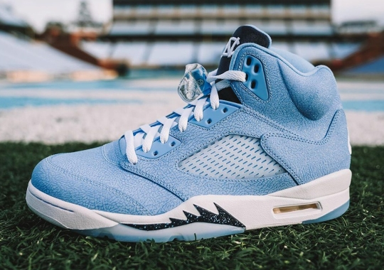 UNC Tar Heels Football Gets An Air Jordan 5 PE Covered In Elephant Print
