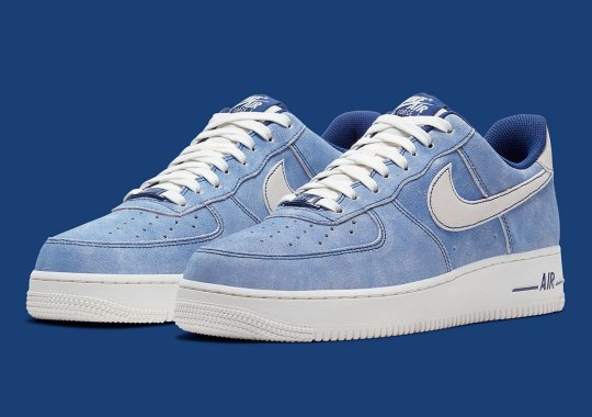 Washed Out Suede In Blue Covers This Nike Air Force 1 Low