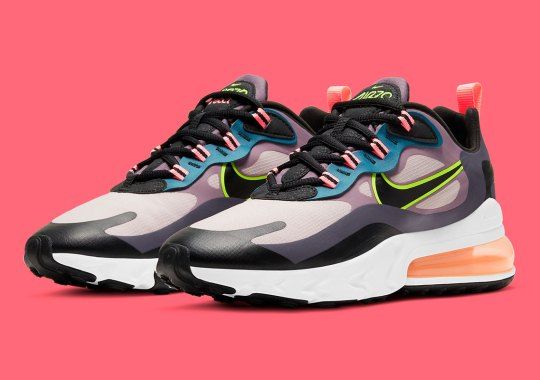 "The Women's Nike Air Max 270 React ""Violet Dust"" Contrasts Muted Tones With Hits Of Neon"