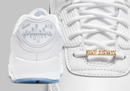 """The Nike Air Max 90 """"Pirate Radio"""" Tunes In A White/Gold Colorway"""
