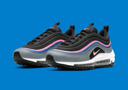 This Kids' Black And Grey Nike Air Max 97 Gets Slight Hints Of Blue And Pink