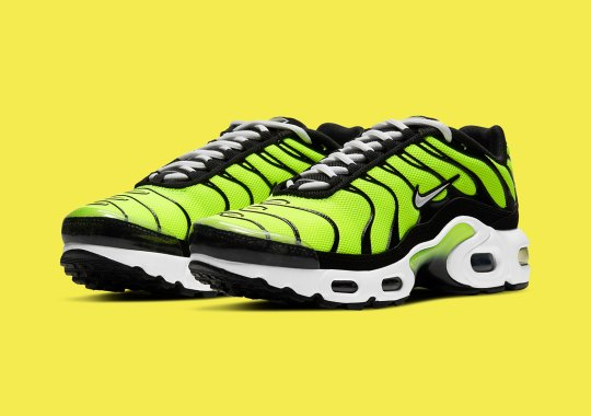 "A New Kids' Nike Air Max Plus Gets Dipped In Zesty ""Hot Lime"""