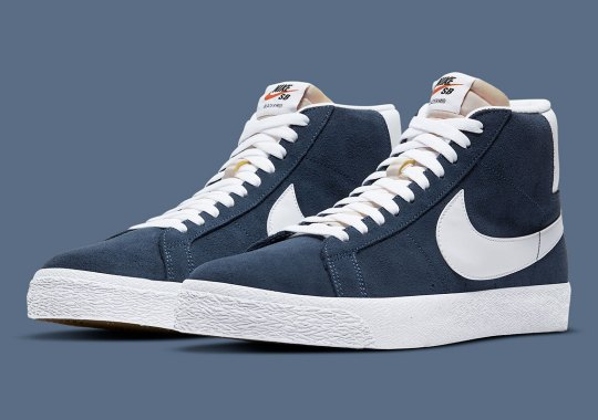Classic Navy And White Lands On The Nike SB Blazer Mid