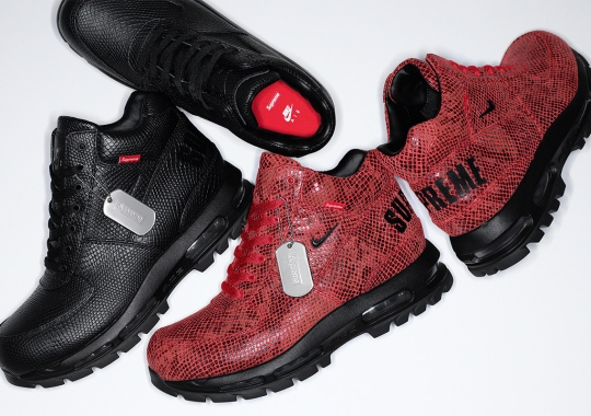 "The Supreme x Nike Goadome ""Snakeskin"" Boots Release On January 14th"