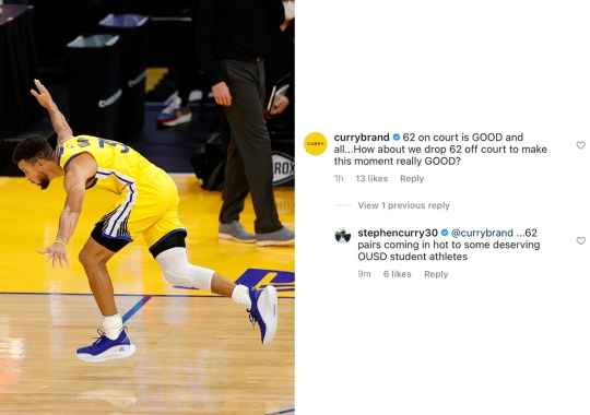 """Steph Curry Gifts 62 Pairs Of The Curry Flow 8 """"Flow Like Water"""" To Oakland School"""
