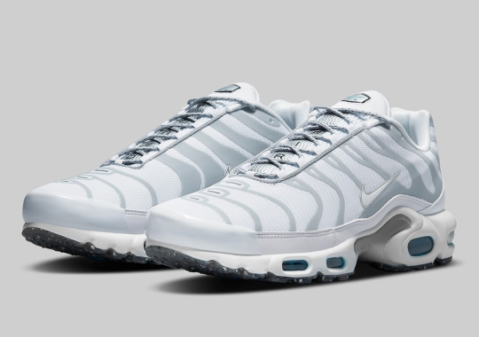 Recycled Grind Soles Subtly Accent This White-Shaded Nike Air Max Plus