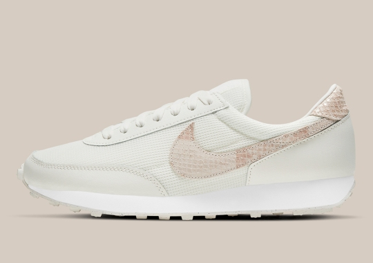 """This Women's Nike Daybreak Adds """"Particle Beige"""" Snakeskin To Its Swoosh And Heel"""