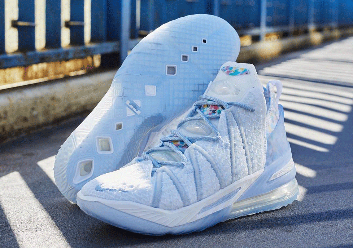 """The Nike LeBron 18 """"Blue Tint"""" Also Appears In Adult Sizing"""