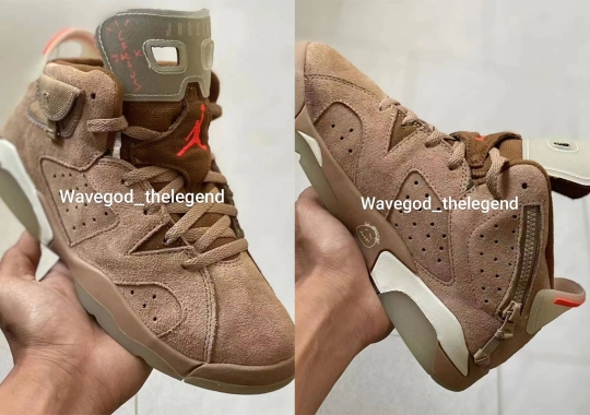 "First Look At The Travis Scott x Air Jordan 6 ""British Khaki"" In Pre-School Sizes"