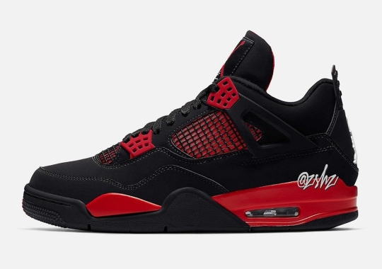 "Jordan Brand Looks To The ""Thunder"" Colorblocking For Upcoming Air Jordan 4 In Black Red"