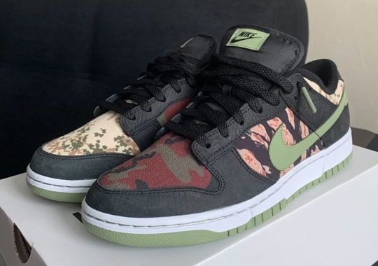 "The Nike Dunk Low SE ""Black/Oil Green"" Strings Together Multiple Camo Prints"