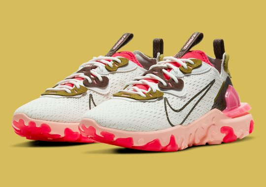 The Women's Nike React Vision Delivers Another Contrast Of Siren Red And Swampy Greens