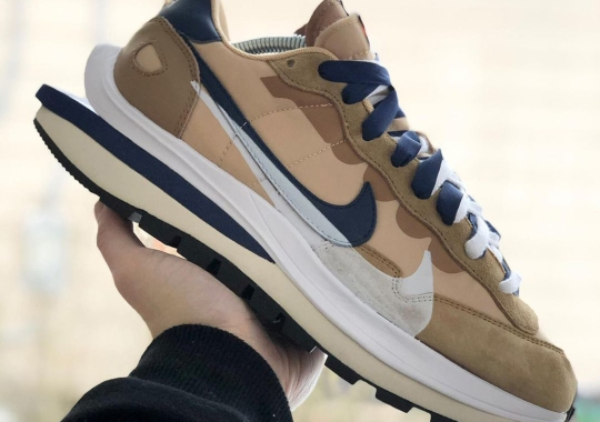 sacai's Nylon-Based Nike VaporWaffle To Release In Tan And Navy Colorway