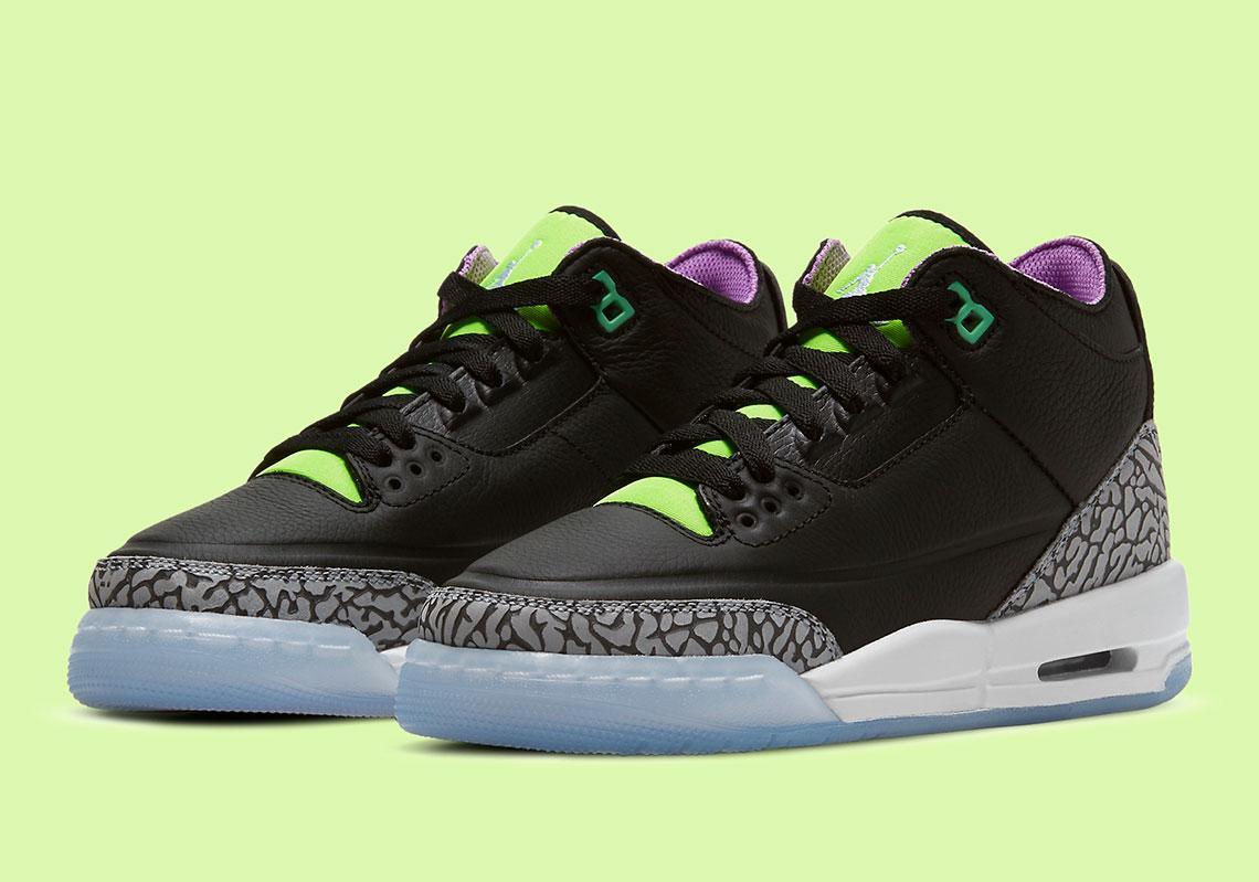 Air Jordan 3 Kids Black Electric Green Violet Shock DA2304-003 ...