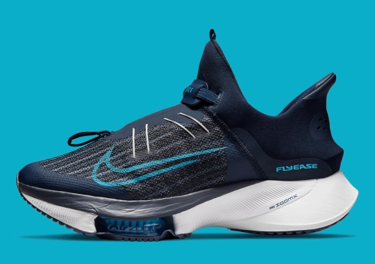 """Nike's Hands-Free FlyEase System Appears On The Air Zoom Tempo NEXT% """"College Navy"""""""