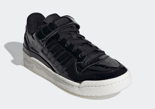 The adidas Forum Low Gets Glossy Piano Black Uppers