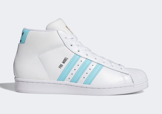 "The Mainstay adidas Pro Leather Adds ""Hazy Sky"" Stripes"