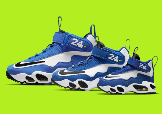 """The Nike Air Griffey Max 1 """"Varsity Royal"""" Is Releasing In Full Family Sizes"""