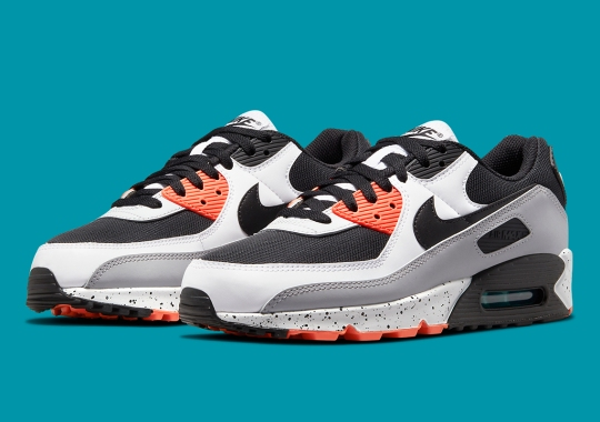A Perfect Pairing Of Turf Orange And Aquamarine Appears On Nike Air Max 90