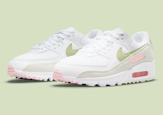 The Soft Pink And Olive Mix Appears On The Nike Air Max 90