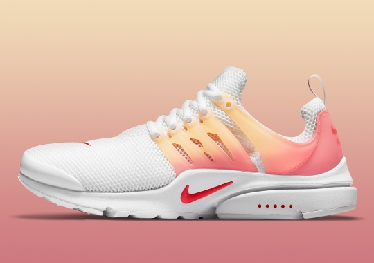 A Sunrise Gradient Covers The Exterior Frame Of The Nike Air Presto