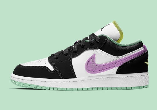 This GS Air Jordan 1 Low Transitions To Summer With Purple And Green Pastels