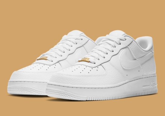 Nike's White-On-White Air Force 1 Gets Tumbled Leather Uppers And Gold Dubraes