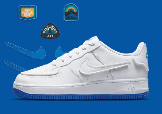 "A Kid's Nike Air Force 1 Has Appeared With ""Sapphire Blue"" Bottoms And Interchangeable Swooshes"