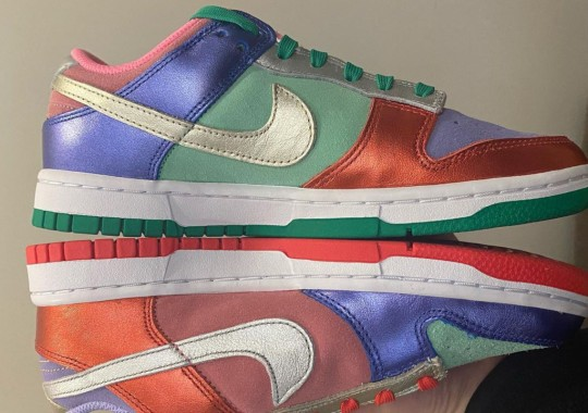Mismatched Metallic Leather And Suede Appear On This Multi-colored Nike Dunk Low