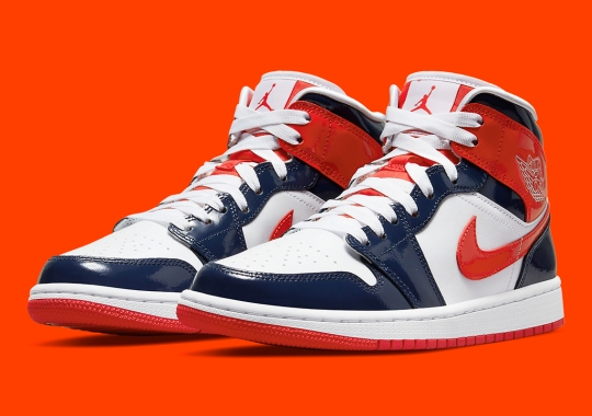 """This Patent Leather Air Jordan 1 Mid Takes A """"Champ Colors"""" Approach"""