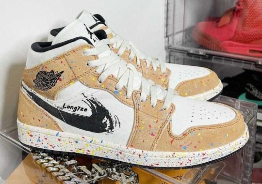 """The Air Jordan 1 Mid """"Brushstroke"""" Also Gets Covered In Paint Splatter"""