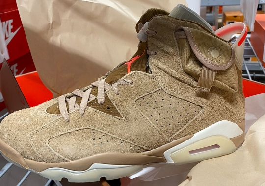 "Spy Shots Of The Travis Scott x Air Jordan 6 ""British Khaki"" Are Revealed"