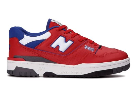 The New Balance 550 Appears In A Sporty Red And Royal