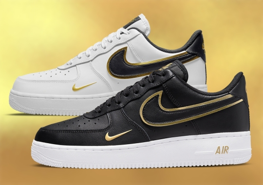 A Spectacular Duo Of Golden, Double-Stacked Nike Air Force 1s Are Coming