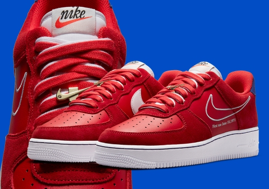 """Nike Air Force 1 Low """"First Use"""" Features Double Lacing And Gold Swoosh Accessory"""