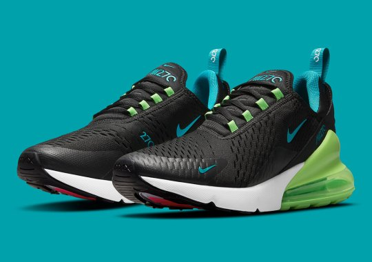 Green Strike And Aquamarine Land On A Black Nike Air Max 270