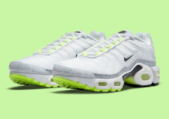 Nike's Logo-Heavy Mudguard  Appears On The Air Max Plus For Kids