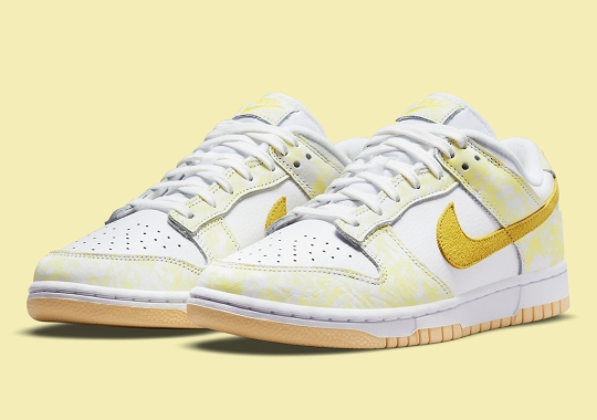 "Nike's Blotty Coloring Returns On The Dunk Low ""Yellow Strike"""