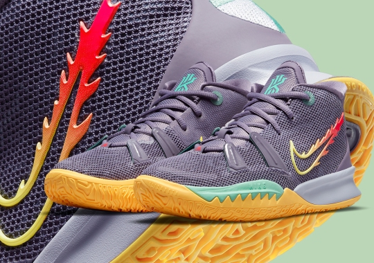 """Flaming Swooshes Appear On Kids-Exclusive Nike Kyrie 7 """"Daybreak"""""""