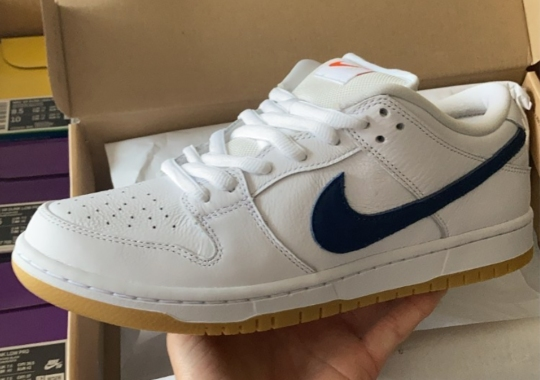 The Skateshop-Exclusive Nike SB Dunk Low Orange Label Is Dropping In White, Navy, And Gum