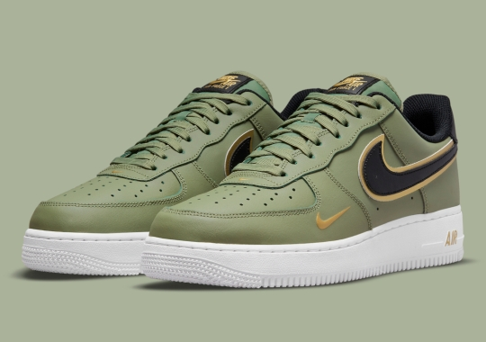 A Third Golden Swoosh-Accented Nike Air Force 1 Appears In Olive Green