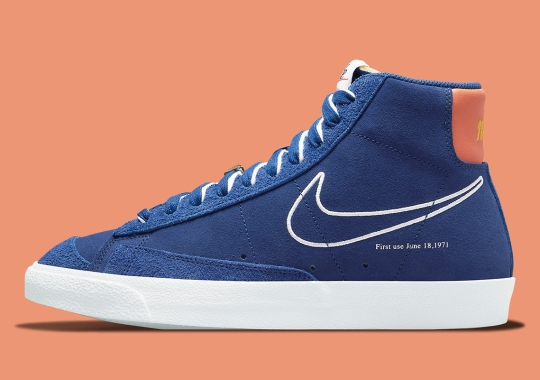 "Retro Royals Appear On The Nike Blazer Mid '77 ""First Use"""